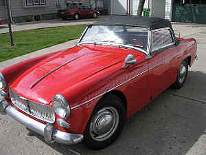 Red 1963 MG Midget